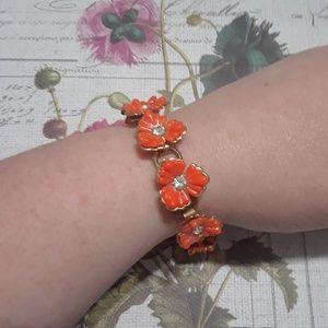Vintage rhinestone flower bracelet